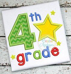 4th Grade Star Applique $ REPIN THIS then click here: https://creativeappliques.com/