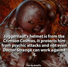 Describe Juggernaut with one word. by marvelousfacts Comic Book Characters, Marvel Characters, Comic Character, Comic Books Art, Marvel Villains, Marvel Dc Comics, Marvel Heroes, Movie Facts, Fun Facts