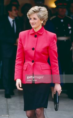 WELLS, ENGLAND - FEBRUARY 28 Diana, Princess of Wales on a visit to Tunbridge Wells, on February 28, 1990 in London, United Kingdom.