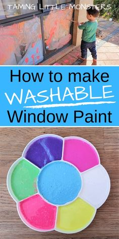 Learn how to make DIY washable window paint with this super easy recipe from Taming Little Monsters Toddlers and preschoolers will love getting messy in this fun art idea. Toddler Preschool, Toddler Crafts, Preschool Crafts, Toddler Fun, Crafts To Do, Diy Crafts For Kids, Projects For Kids, Family Crafts, Kids Diy