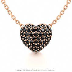 Black Diamond Heart #pendant #redgold #love