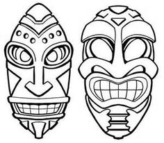 Tiki Mask Clip Art - Bing Images Tiki Tattoo, Hawaiianisches Tattoo, Tattoos, Arte Tribal, Tribal Art, African Masks, African Art, Arte Bar, Tiki Maske