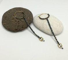 Long hematite earrings, matte hematite beads, tiny freshwater pearl, minimalist earrings, dainty earrings