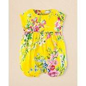 Ralph Lauren Childrenswear Infant Girls' Floral Shortall - Sizes 3-12 Months