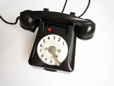 Vintage Antique rotary phone bakelite black white dial 1954 50s