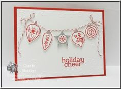 Card 3. I have a FREE TUTORIAL for making a card set using Stampin' Up!'s Cheerful Christmas and Nordic Noel DSP. Stampin' Up!, #stampinup, #cheerfulchristmas, Card Set, Christmas Cheer, string of lights, ornaments, Connie Babbert, www.inkspiredtreasures.com