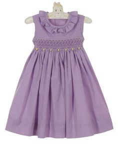 NEW Remember Nguyen (Remember When) Lavender Checked Smocked Dress with Yellow Rosebuds $45.00 #SmockedEasterDress