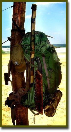 A similar bug out bag to mine, without the BMW hat and less than appealing waterproofing skills. Good Hunting...