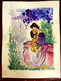 Original mother and child water color by TheArtofMrsThompson