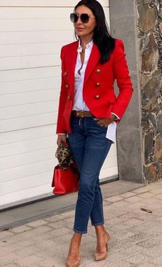 Casual Work Outfits, Mode Outfits, Classy Outfits, Stylish Outfits, Fashion Outfits, Womens Fashion, Red Blazer Outfit, Look Blazer, Mode Ab 50