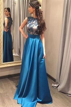 Charming Prom dress,O-Neck Prom Dress,Appliques Prom Dress,Evening Dress