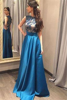 Charming Prom dress,O-Neck Prom Dress,Appliques Prom Dress,Evening Dress
