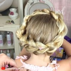 Your little one will fall in love with this pull through crown braid! by sweethearts hair combonation crown braid Braided Hairstyles For Wedding, Braided Hairstyles Tutorials, Little Girl Hairstyles, Easy Hairstyles, Pelo Color Plata, Braid Crown Tutorial, Hair Upstyles, Braids For Kids, Toddler Hair