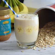 Banana Oatmeal Breakfast Smoothie is a quick recipe with oatmeal, banana, peanut butter, milk, and ice cubes, and blended until smooth.