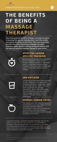 There are many other benefits that come with being a massage therapist including career specific training, strong job lookout, and the ability to practice massage therapy on your terms. Massage Therapy, Infographics, Career, Stress, Healing, Training, Life, Carrera, Infographic