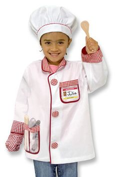 Kids' Chef Costume Set: With a machine-washable chef jacket and hat, your little chef will be master of the pretend kitchen! This set comes complete with a set of measuring spoons, two wooden utensils, an oven mitt and a name tag for personalizing. With a machine-washable chef jacket and hat, your little chef will be master of the pretend kitchen! This set comes complete with a set of measuring spoons, two wooden utensils, an oven mitt and a name tag for personalizing.