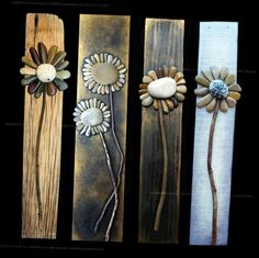 Pebble Flowers on Wood Slats