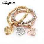 LongWay Ethnic Love Heart Charm Bracelets For Women Gold Color Crystal Chain Bracelets & Bangles With Pendants SBR150160