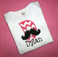 Mustache Monogram Applique for the Trendy Little Girl, Onesie or T Shirt Embroidered Personalized Monogrammed Initial Name Pink Chevron