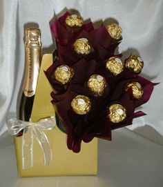 Wine Bottle Candy Bouquet | WINE & CHOCOLATE BOUQUET