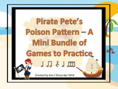 These games are for projecting onto your whiteboard or Smartboard.   4 games are included in this middle bundle.   Rhythmic concepts contained in this bundle of games are: ta and ti-ti (quarter note and paired eighth notes) ta, ti-ti and Z (quarter rest) t, ti-ti and ta-a (half note) and ti-ka-ti-ka (sixteenth note).   This is a fun way to play the poison rhythm game with your students. They will practice their rhythm reading skills whilst avoiding the dreaded Pirate Pete's poison rhythm.