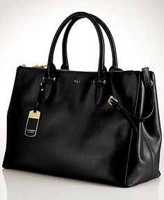 Lauren Ralph Lauren Newbury Double Zip Satchel - Lauren Ralph Lauren - Handbags & Accessories - Macy's - Want the Port color