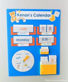 A simple kid's calendar I made for my son.