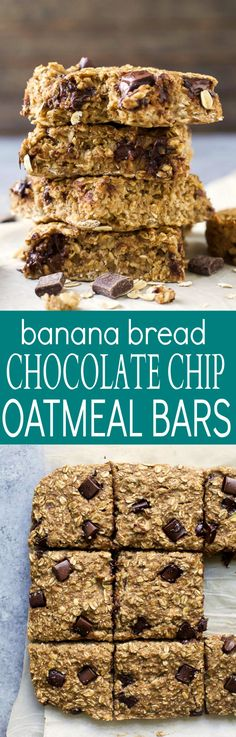 Banana Bread Chocolate Chip Oatmeal Bars