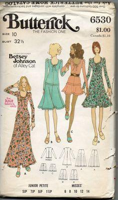 Vintage 1970's Butterick 6530 Betsey Johnson of Alley Cat Dress pattern  Size 10