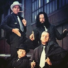 Awesome throwback picture of D-Generation X dressed as gangsters - Triple H, X-Pac, and the New Age Outlaws (Road Dogg and Billy Gunn) #WWE #DX
