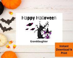 Halloween Card for Granddaughter, Printable Digital Download Halloween Cards, Happy Halloween, Printable Cards, Printables, Decor, Print Templates, Decorating, Dekoration, Deco