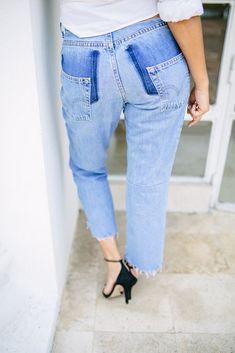 DIY deconstructed jeans