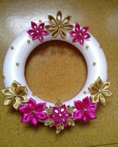 Handmade Christmas Wreath. Kanzashi Wreath