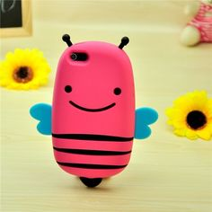 3D Cute Apple iPhone 4 4S 5 Silicone Cases Cover Lovely Bee Cartoon - Free Shipping- - TopBuy.com.au