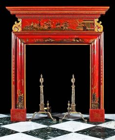 Neo Classical Chinoiserie red lacquered chimneypiece. English, circa 1820...