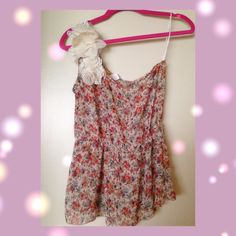 M floral girly one shoulder chiffon top Not f21 just for views sorry! Great for coming spring sheer material and flowers are sheer material and lace material in cream and white color feminine and cute! true to M flowers are like roses in dark purple, rosy red, orange, and blue a lot of my items are UNDER $10 bundle and save Forever 21 Tops Tank Tops