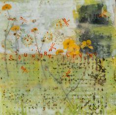 "Linda Virio - Country Living - 8"" X 8"" Encaustic on Birch, collage, photo transfer, dried flowers."