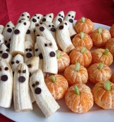 Tangerine pumpkins and banana ghosts - healthy halloween snack // Szellemek banánból és tökök mandarinból - egészséges desszert // Mindy - craft tutorial collection