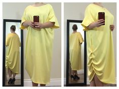 Gorgeous yellow asymmetrical dress with crew neck & loose ruffled sleeves. It's formless, bright & comfortable.  Buy now at https://www.etsy.com/ca/shop/ClassyGiselleLauren?ref=hdr_shop_menu