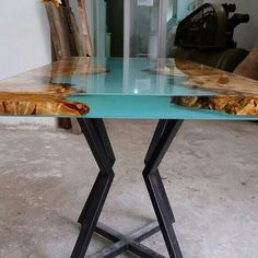 Gorgeous resin live edge river table