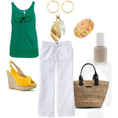 """Kira's White Linen Pants Ensamble"" by illistyle on Polyvore"