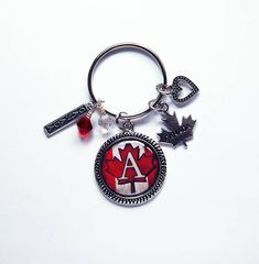 Canada Keychain, Keychain with Charms, Canada Maple Leaf, Canada Keyring, monogram keychain, stocking stuffer Gift under 20, Canadian (8018) Monogram Keychain, Monogram Letters, Canada Maple Leaf, Christmas Coasters, Business Card Case, Candy Containers, Split Ring, Hostess Gifts, Little Gifts