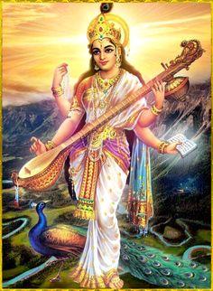Goddess Saraswathi is the Hindu goddess of education, music, arts, knowledge and learning. Find a good collection of Goddess Saraswati images & wallpapers. Saraswati Mata, Saraswati Goddess, Durga, Hanuman Chalisa, Shiva Shakti, Divine Goddess, Goddess Art, Om Namah Shivaya, Hindus