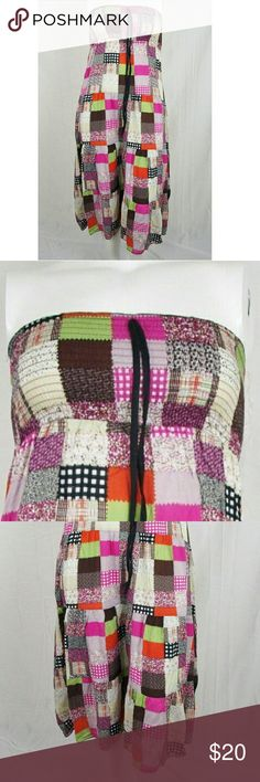 """Colorful Patchwork Tube Dress Size S Has smocked bodice with faux drawstring. Bust (not stretched) 19"""" around & length 40"""". Material 100% rayon. Add to a bundle to receive 20% off 3 or more items. Offers welcomed. g7. Annabelle New York Dresses"""
