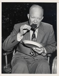 """""""Dwight Eisenhower Eating an Ice Cream Bar,"""" 1950 - 1960. Silver gelatin on paper.   via @National Museum of American History, Smithsonian"""