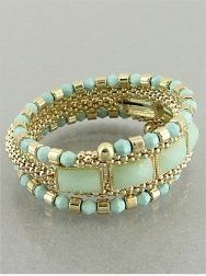 Designer Inspired Mint Green and Gold Beaded Cuff Wrap Around Bracelet. Hail Mary Gifts. $27.00