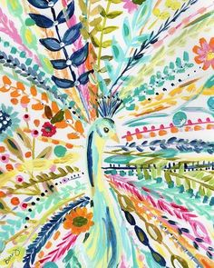 Boho Peacock Art Print is part of Canvas crafts Boho Add a pop of color and joy to your decor with a whimsical boho limited edition print Personally signed by Bari J Printed on luxe heavy weight - Wow Art, Simple Art, Art Plastique, Painting Inspiration, Oeuvre D'art, Art Lessons, Painting & Drawing, Drawing Drawing, Watercolor Art