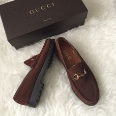 Gucci suede loafers ️️TRADES‼️Pretty and classic style. Must have Gucci loafers in brown suede. They have been worn a few times but are in excellent condition. No box but have a vintage dust bag I can send these in. (These are women's) fits true to size Gucci Shoes Flats & Loafers