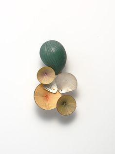 HEEJOO JIM, brooch, sterling  silver, enameled copper, korean floor paper, 110x75x55mm, 2009