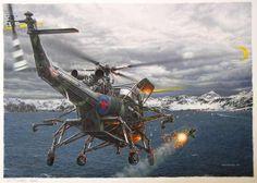 Helicoptero ingles lanzando un misil[